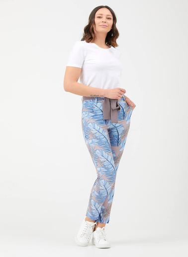 Sementa Kadın Desenli Kuşak Detaylı Pantolon  Vizon